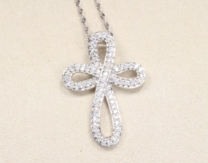 "14k WHITE GOLD .23ctw DIAMOND CROSS PENDANT 18"" NECKLACE"