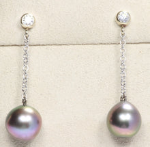 Load image into Gallery viewer, 14k WHITE GOLD 9.5mm TAHITIAN PEARL .20ctw DIAMOND DROP EARRINGS