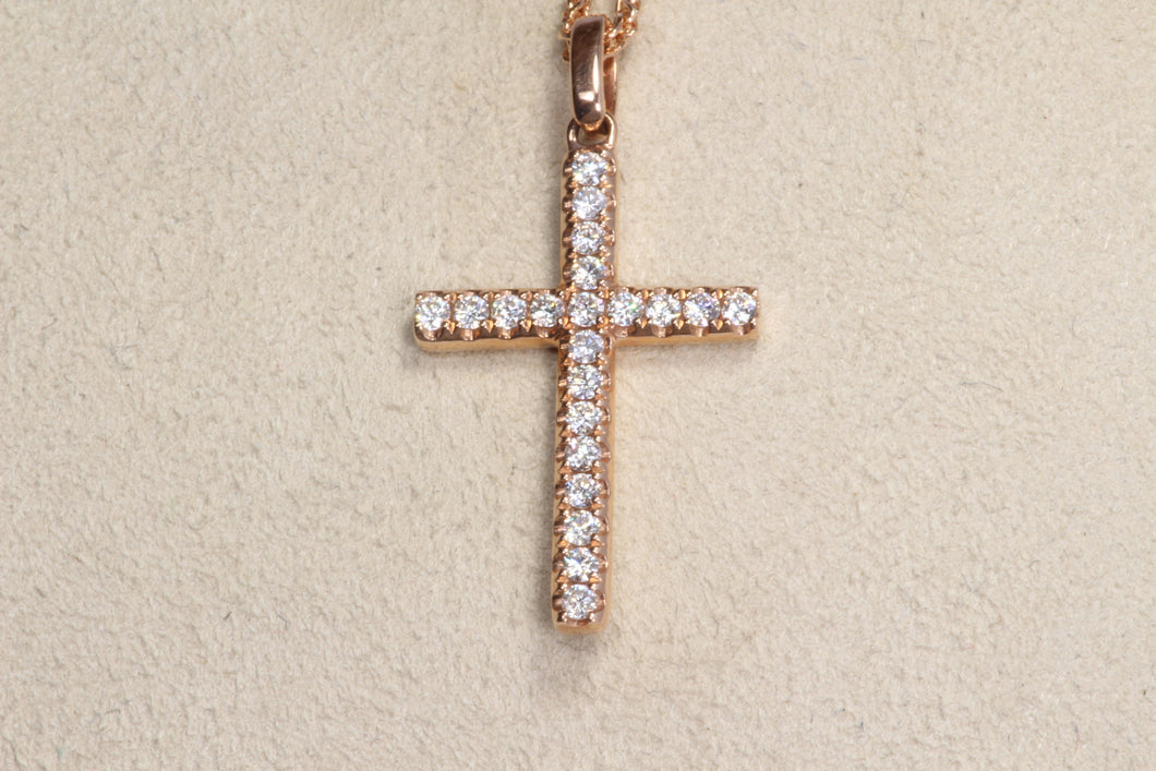 14K ROSE GOLD .25ctw DIAMOND CROSS PENDANT 18