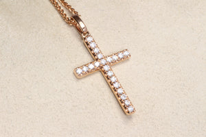 "14K ROSE GOLD .25ctw DIAMOND CROSS PENDANT 18"" NECKLACE"