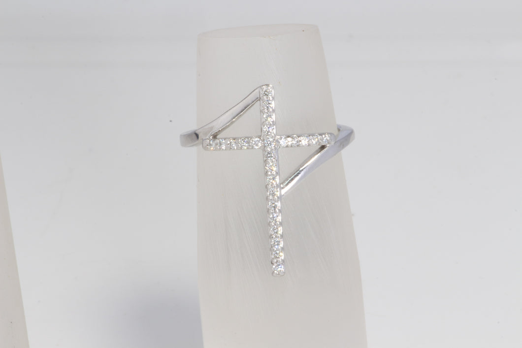14K WHITE GOLD .22ctw DIAMOND CROSS BYPASS STYLE RING SIZE 6.75