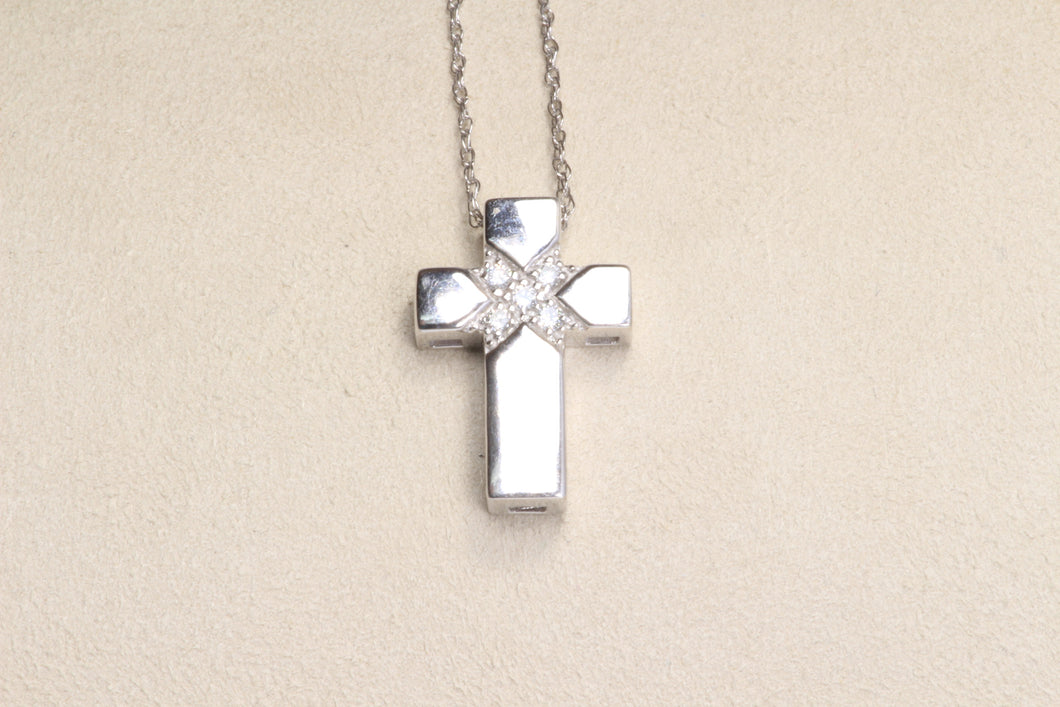 14K WHITE GOLD DIAMOND CROSS PENDANT 18