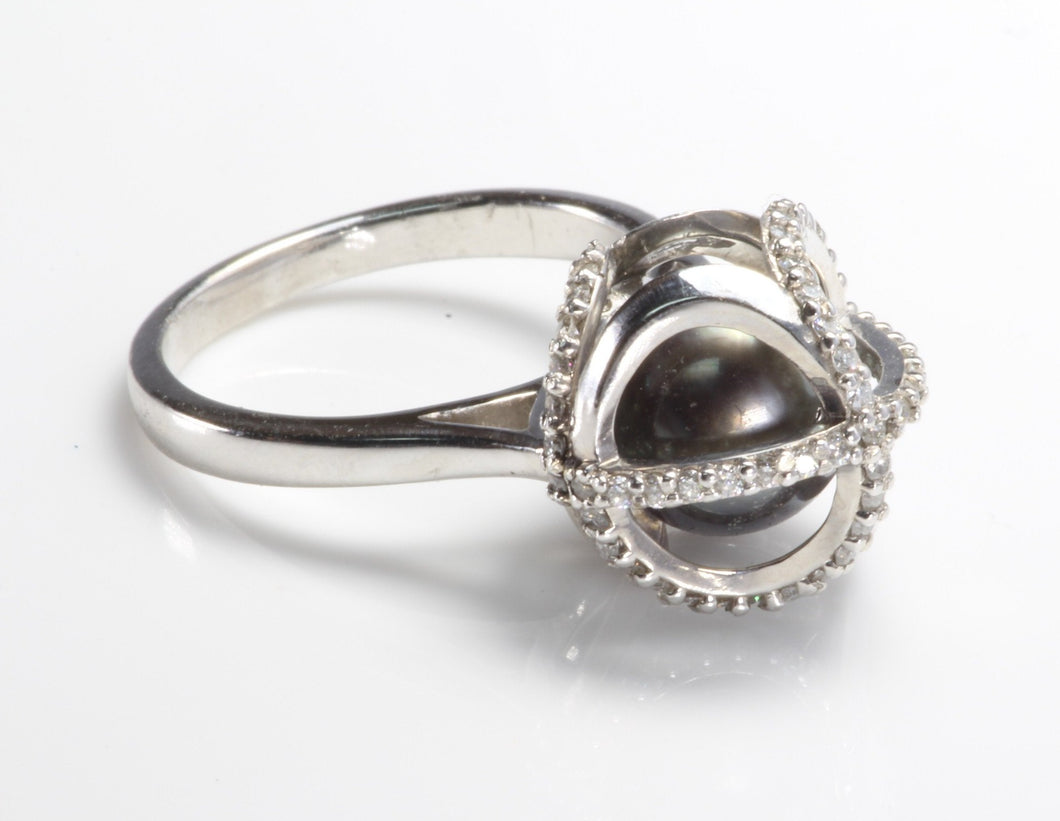 CUSTOM 14K WHITE GOLD TAHITIAN BLACK PEARL .50ctw DIAMOND RING SIZE 6.75