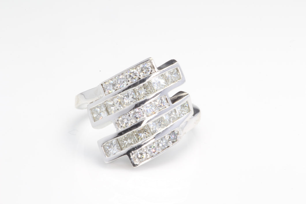 MODERNIST 14K WHITE GOLD 2.00ctw DIAMOND RING SIZE 7