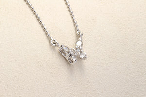 "18K WHITE GOLD .25ctw DIAMOND BUTTERFLY 16"" NECKLACE"