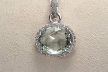 "Load image into Gallery viewer, 14K WHITE GOLD PRASIOLITE DIAMOND PENDANT 16"" NECKLACE"