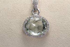 "14K WHITE GOLD PRASIOLITE DIAMOND PENDANT 16"" NECKLACE"