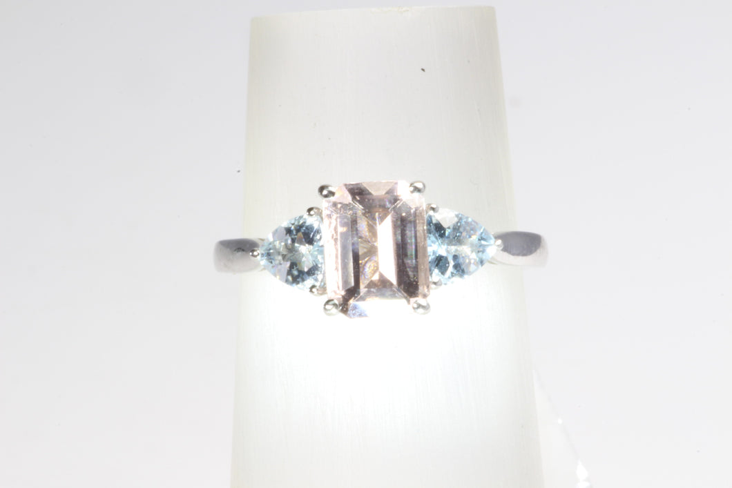 10K WHITE GOLD MORGANITE .60ctw AQUAMARINE RING SIZE 7.25