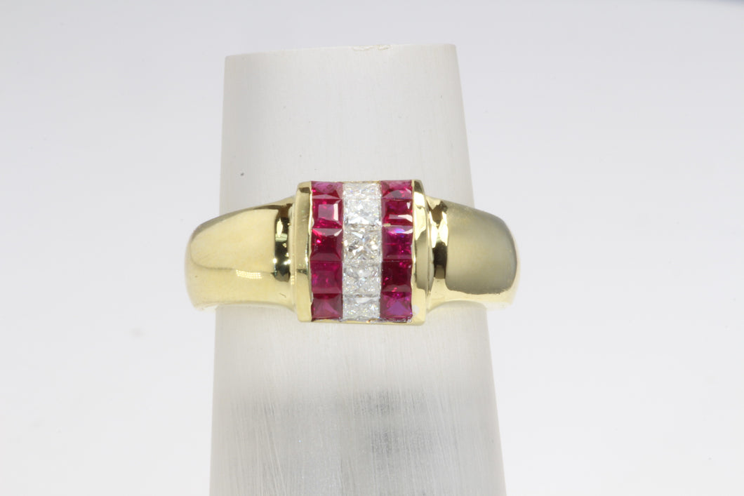 18K GOLD .76ctw BURMA RUBY .32ctw DIAMAOND RING SIZE 7.5
