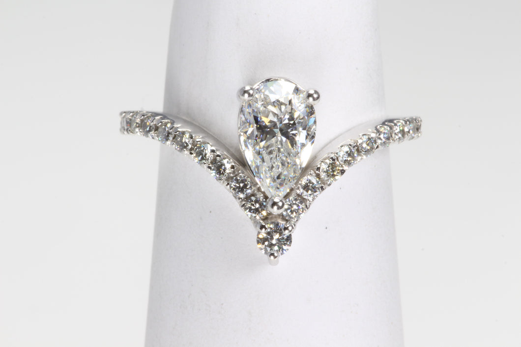 CUSTOM 14K WHITE GOLD PEAR SHAPED SI1 COLOR E 1.37ctw  DIAMOND ENGAGEMENT RING