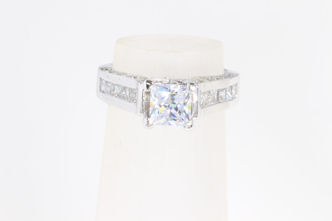 14K WHITE GOLD MILGRAIN DIAMOND PRINCESS SEMI MOUNT ENGAGEMENT RING 5.75