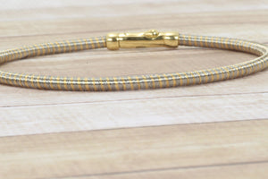"18K GOLD STAINLESS STEEL GERMAN 7"" CABLE BRACELET"