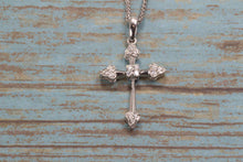 "Load image into Gallery viewer, 14K WHITE GOLD DIAMOND CROSS PENDANT 20"" NECKLACE"