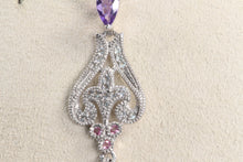 "Load image into Gallery viewer, VINTAGE STYLE 10K WHITE GOLD BRIOLETTE PURPLE SAPPHIRE DIAMOND 18"" NECKLACE"