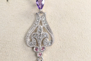 "VINTAGE STYLE 10K WHITE GOLD BRIOLETTE PURPLE SAPPHIRE DIAMOND 18"" NECKLACE"
