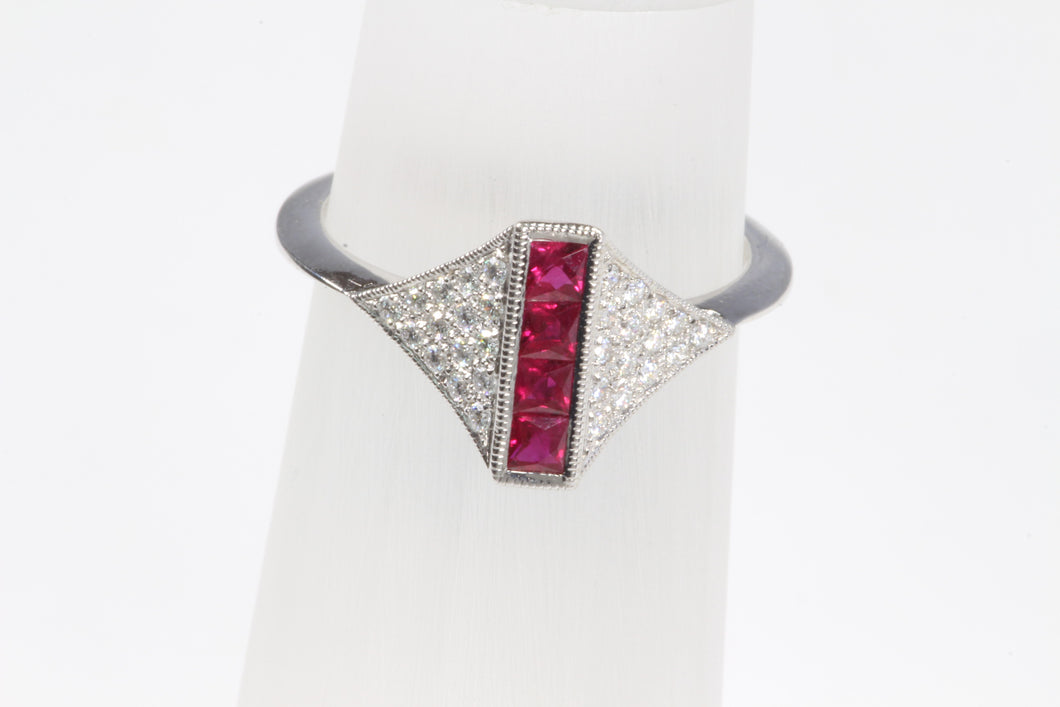 14K WHITE GOLD .35ctw RUBY DIAMOND RING SIZE 6.5