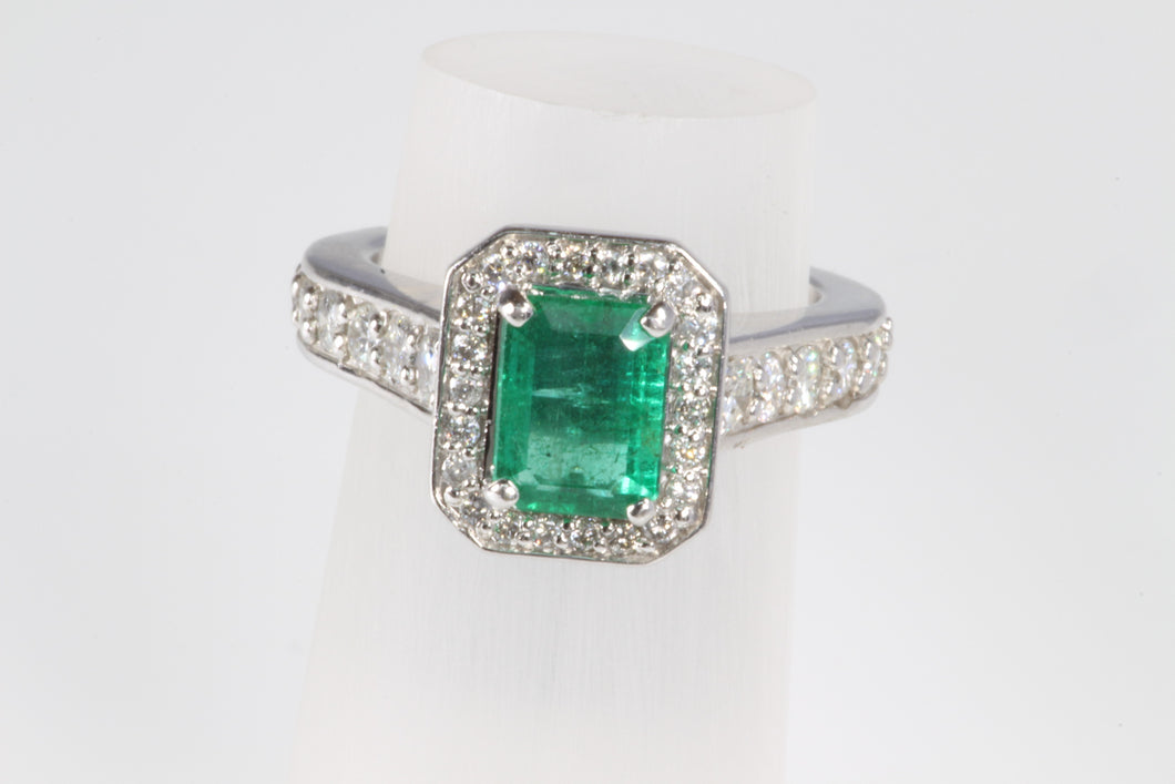 CUSTOM 14K WHITE GOLD .94ct EMERALD .41ctw DIAMOND RING 6.25