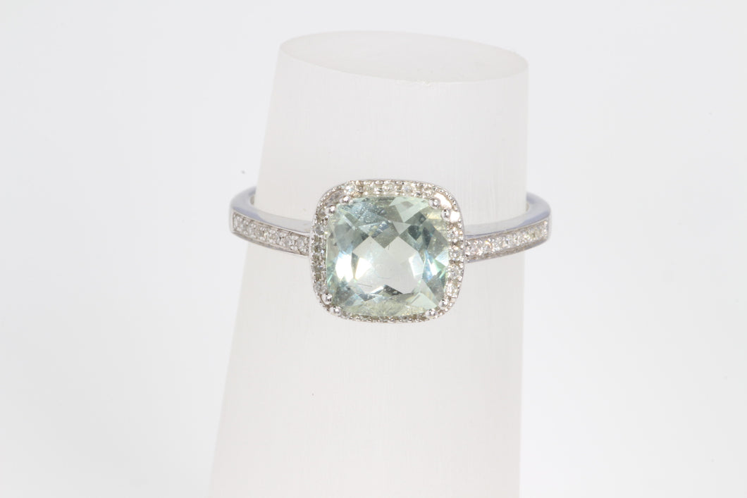 14K WHITE GOLD PRASIOLITE GREEN AMETHYST DIAMOND RING 6.25