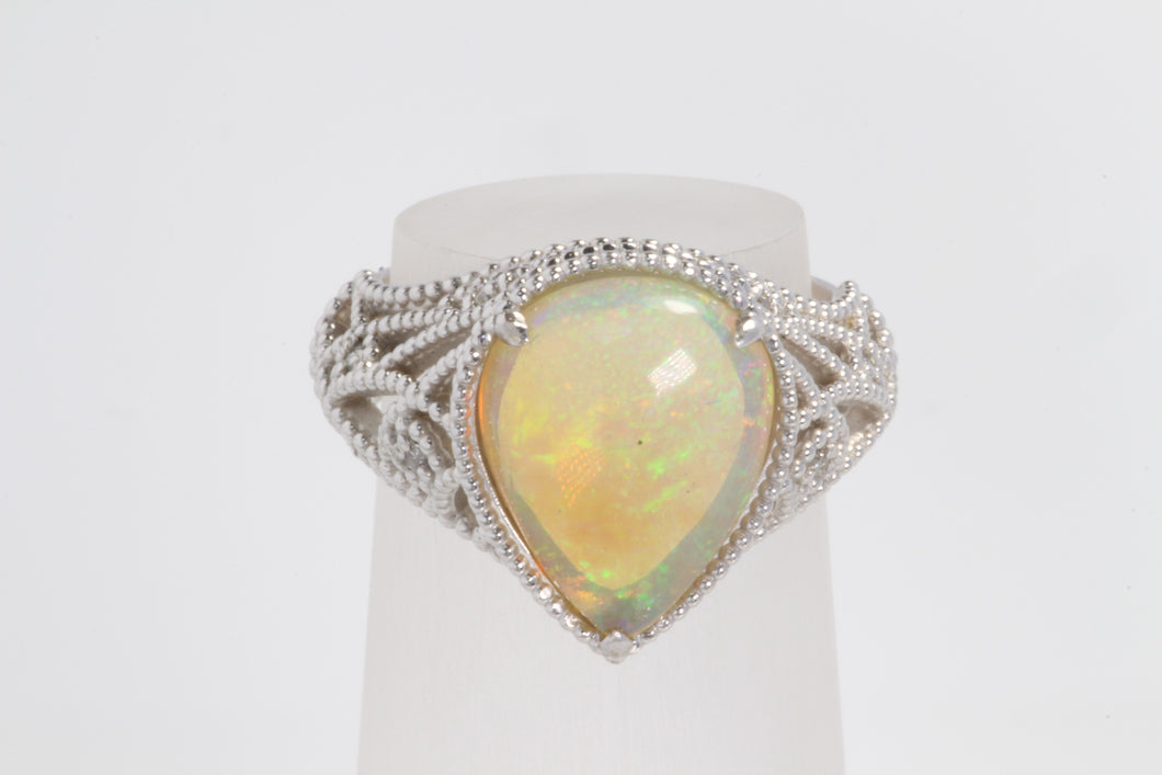 CUSTOM 14K WHITE GOLD 2.5ct PEAR SHAPED OPAL CABOCHON DIAMOND RING 5.5