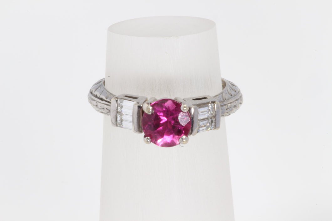 14K WHITE GOLD 1ct PINK TOURMALINE .44ct DIAMOND BAGUETTE RING 6.25