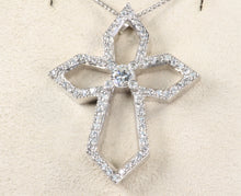 "Load image into Gallery viewer, CUSTOM 14K WHITE GOLD .50ctw DIAMOND CROSS PENDANT 18"" NECKLACE"
