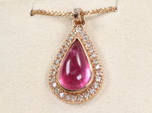 "Load image into Gallery viewer, CUSTOM 14K ROSE GOLD 4.94 PINK TOURMALINE .45ctw DIAMOND PENDANT 20"" NECKLACE"