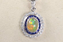 "Load image into Gallery viewer, 18K WHITE GOLD 1.3ct OPAL SAPPHIRE HALO DIAMOND PENDANT 16""-18"" NECKLACE"