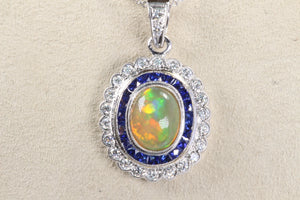 "18K WHITE GOLD 1.3ct OPAL SAPPHIRE HALO DIAMOND PENDANT 16""-18"" NECKLACE"