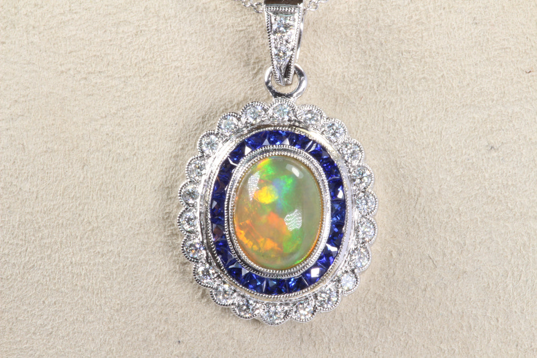 18K WHITE GOLD 1.3ct OPAL SAPPHIRE HALO DIAMOND PENDANT 16