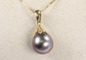 "14K GOLD 10mm TAHITIAN BLACK PEARL DROP PENDANT 18"" NECKLACE"