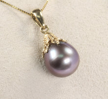 "Load image into Gallery viewer, 14K GOLD 10mm TAHITIAN BLACK PEARL DROP PENDANT 18"" NECKLACE"