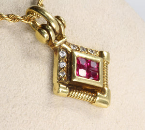 "18K GOLD .55ctw RUBY DIAMOND HINGED BAIL PENDANT22"" ROPPE CHAIN NECKLACE"