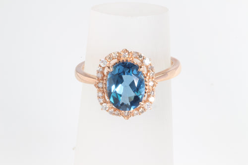 10K ROSE GOLD 2.17ct LONDON BLUE TOPAZ DIAMOND HALO RING 6.5