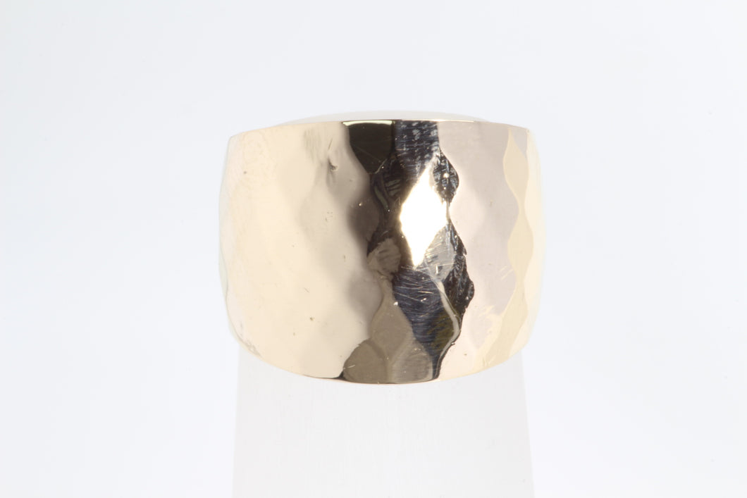 ESTATE FACETED 14K YELLOW GOLD WIDE CIGAR BAND RING SIZE 6