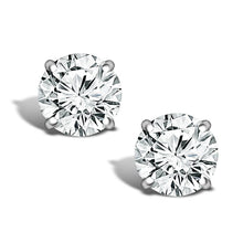 Load image into Gallery viewer, ROUND MINED NATURAL DIAMOND STUD 14K WHITE GOLD EARRINGS