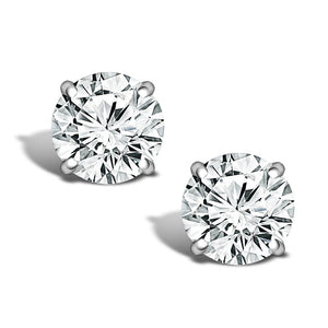 ROUND MINED NATURAL DIAMOND STUD 14K WHITE GOLD EARRINGS