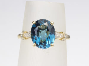 10K GOLD 4.1ct LONDON BLUE TOPAZ DIAMOND RING SIZE 7