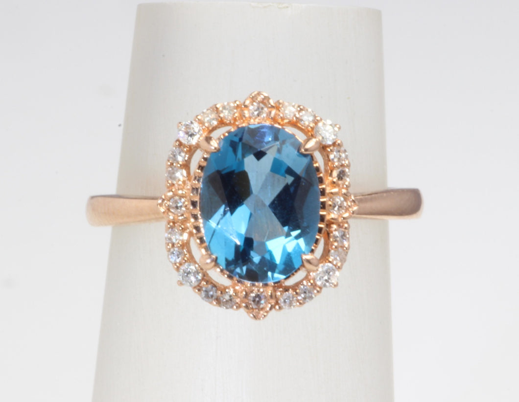 10k ROSE GOLD LONDON BLUE TOPAZ DIAMOND HALO RING SIZE 6.5
