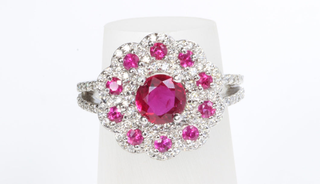 14K WHITE GOLD 1.61ct RUBY DIAMOND RING  SIZE 5.75