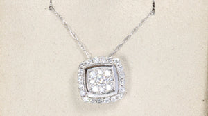"14K WHITE GOLD .33ctw DIAMOND PENDANT 18"" NECKLACE"