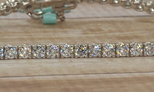 "14K WHITE GOLD LAB GROWN 3.52ctw DIAMOND TENNIS 7"" BRACELET"