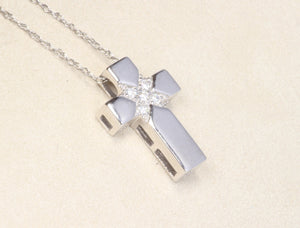 "14K WHITE GOLD DIAMOND CROSS PENDANT 18"" NECKLACE"