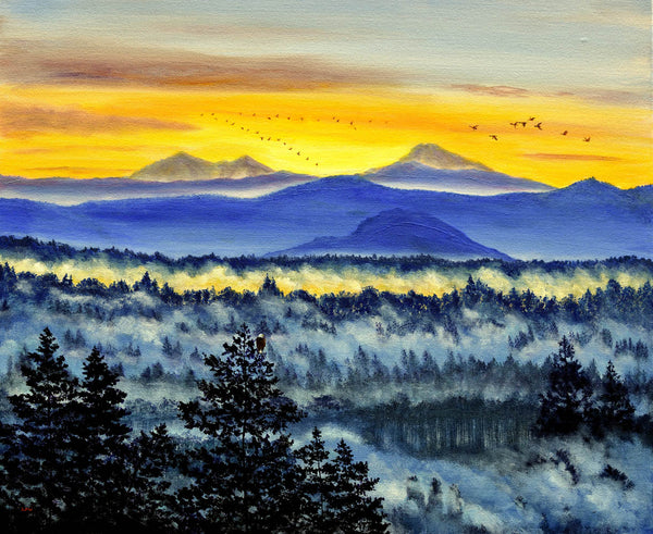 Morning over a Misty Valley Original Painting Laura Milnor Iverson Official Site