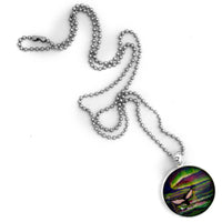 Killer Whale Tail in Aurora Borealis Pendant