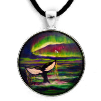 Killer Whale Tail in Aurora Borealis Pendant Laura Milnor Iverson Official Site