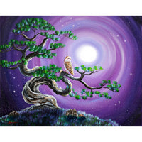 Barn Owl in Twisted Pine Tree Original Painting - Laura Milnor Iverson Official Site