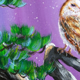 Barn Owl in Twisted Pine Tree Original Painting