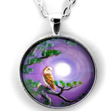 Barn Owl in Twisted Pine Tree Pendant