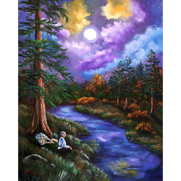 Grey Wolf Warrior Meditation Original Painting