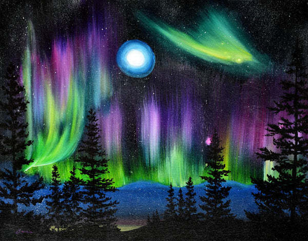 Pine Trees in Aurora Borealis Original Painting Laura Milnor Iverson Official Site